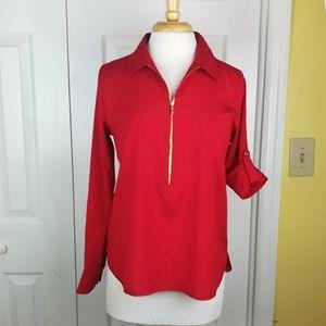 Calvin Klein lightweight red tab sleeved top